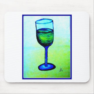 CHARDONNAY IN BLUE GLASS BY JILL MOUSE PAD