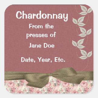 Chardonnay Rose Wine Labels Square Sticker