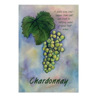 Chardonnay White Wine Grapes Art Print