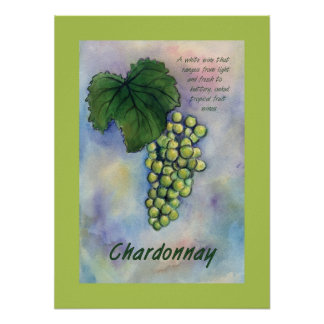 Chardonnay Wine Grapes Poster
