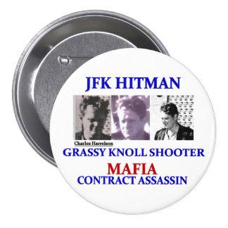 Charels Harrelson: JFK Hitman 3 Inch Round Button