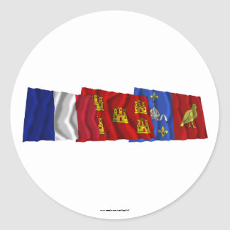 Charente-Maritime, Poitou-Charentes & France flags Classic Round Sticker