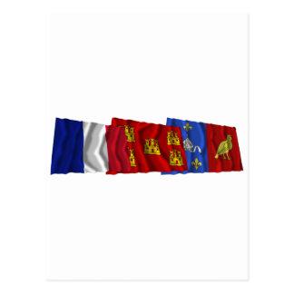 Charente-Maritime, Poitou-Charentes & France flags Postcard