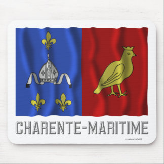 Charente-Maritime waving flag with name Mouse Pad