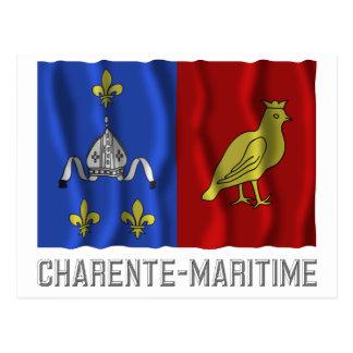Charente-Maritime waving flag with name Postcard