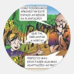CHARGE do menino na horta quadrinho colorido Adesivo