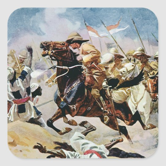 Charge of the 21st Lancers at Omdurman Square Sticker