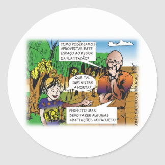 CHARGE of the boy in the vegetable garden quadrinh Classic Round Sticker