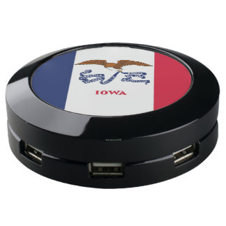 Charger Hub with Flag of Iowa State, USA