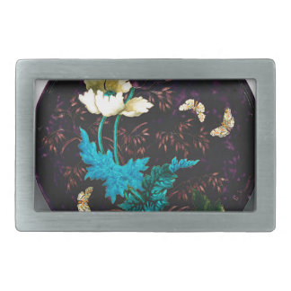 Charger with flowers and butterflies - Deck Rectangular Belt Buckle