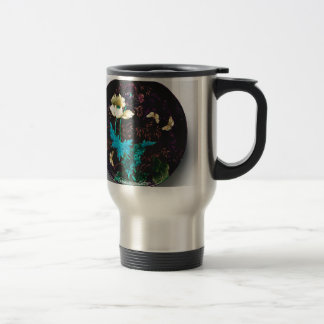 Charger with flowers and butterflies - Deck Travel Mug