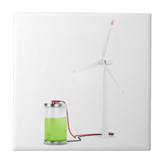 Charging battery with wind turbine ceramic tile