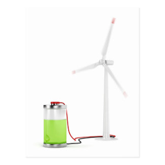 Charging battery with wind turbine postcard