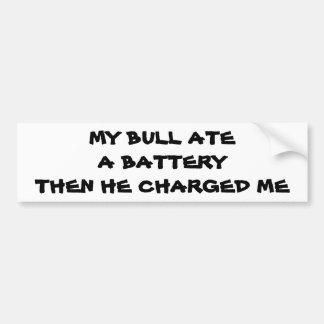Charging Bull Battery pun Bumper Sticker