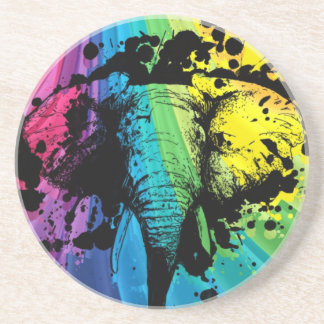 Charging Bull Elephant on Rainbow Drink Coaster