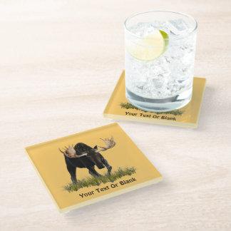 Charging Bull Moose Glass Coaster