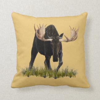 Charging Bull Moose Throw Pillows