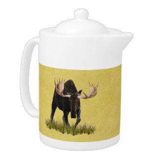 Charging Bull Moose Teapot