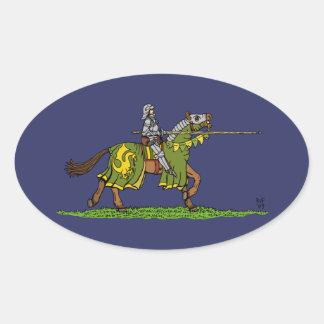Charging Knight Oval Sticker