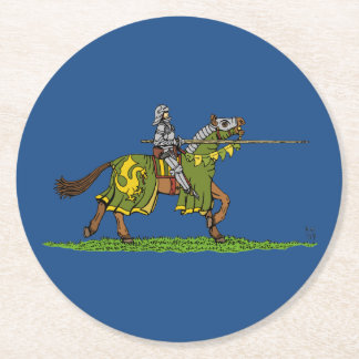 Charging Knight Round Paper Coaster