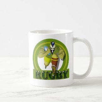 charging mohawk rugby player coffee mug