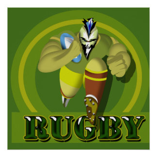 Charging Mohawk Rugby Player Sports Fan Poster