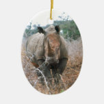 Charging Rhino Double-Sided Oval Ceramic Christmas Ornament