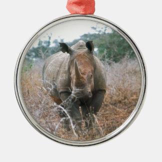 Charging Rhino Metal Ornament