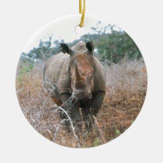 Charging Rhino Round Ceramic Decoration