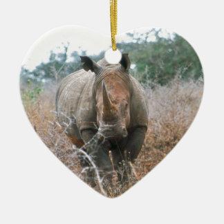 Charging Rhino Ceramic Heart Decoration