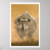 Charging Rhino – Pastels Poster