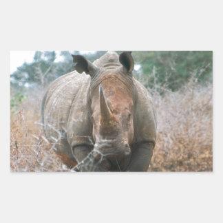 Charging Rhino Rectangular Sticker