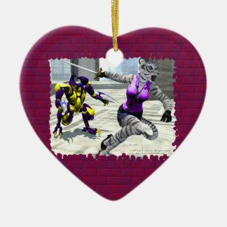 Charging Tigress Heart Ornament