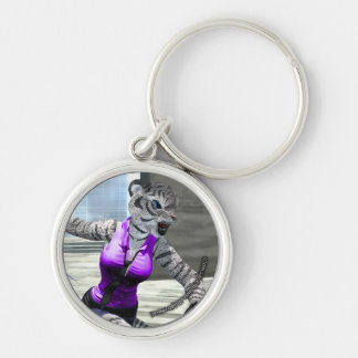 Charging Tigress Round Keychain