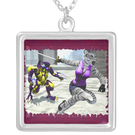 Charging Tigress Square Necklace