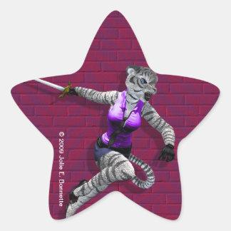 Charging Tigress Star Sticker