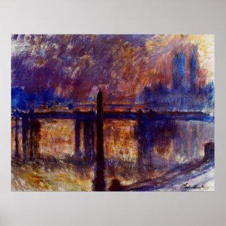Charing Cross Bridge, Cleopatra's Needle,1899-1901 Print