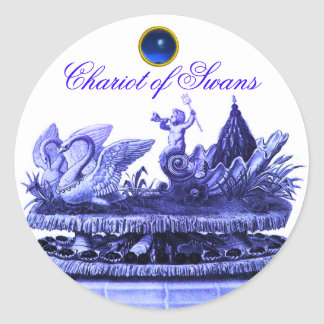CHARIOT OF SWANS AND CUPCAKES BLUE BEACH WEDDING STICKER