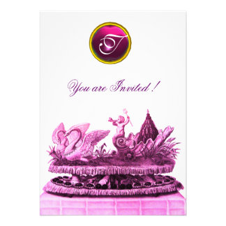 CHARIOT OF SWANS AND CUPCAKES PINK BEACH WEDDING CARDS