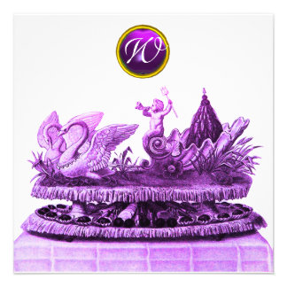 CHARIOT OF SWANS AND CUPCAKES PURPLE BEACH WEDDING PERSONALIZED INVITES