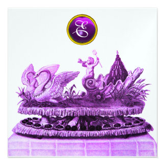 CHARIOT OF SWANS AND CUPCAKES PURPLE BEACH WEDDING ANNOUNCEMENTS