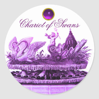 CHARIOT OF SWANS AND CUPCAKES PURPLE BEACH WEDDING STICKER