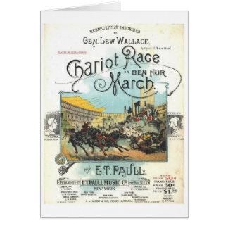 Chariot Race Music Sheet, Greeting Card