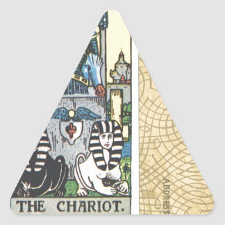 Chariot Tarot Card Vintage Postcard Fortune Teller Triangle Sticker