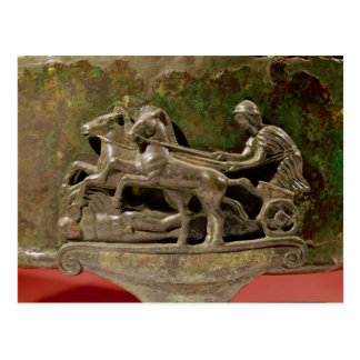Charioteer in his chariot, detail from a cist postcard