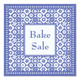 Charity Bake Sale Blue and White Old Fashioned 5.25x5.25 Square Paper Invitation Card