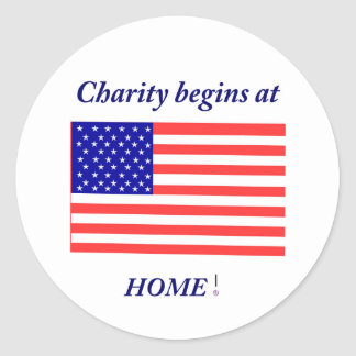 Charity begins at home classic round sticker