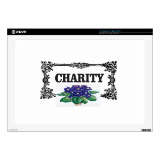 charity blue flowers laptop decal
