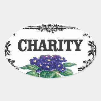 charity blue flowers oval sticker