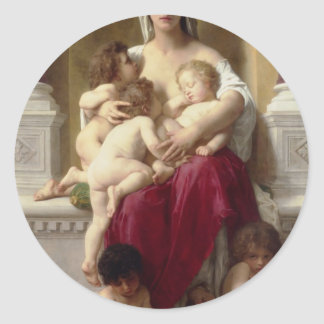Charity by William-Adolphe Bouguereau Classic Round Sticker